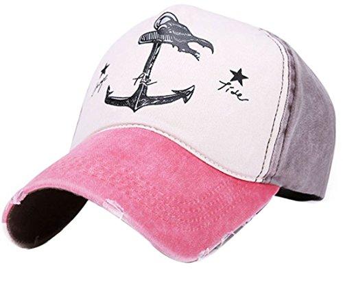 Belsen Damen Vintage Anker Baseball Cap Snapback Trucker Hat (Wassermelone Rot)