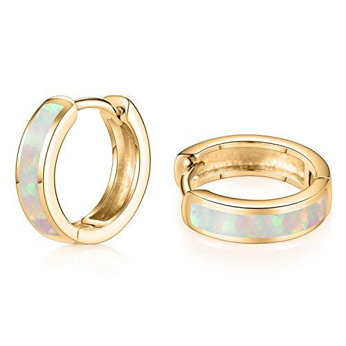 Kzslive hengkaixuan Small Hoop Earrings 925 Sterling Gold Opal Hinged Hoop Earrings Huggie Dainty Hypoallergenic Earrings Birthday Gift for Women Girls