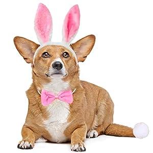 Dog Bunny Costume Set,Pet Rabbit Ears Headband Tail and Cat Bowtie Collar