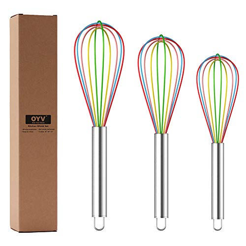 OYV Whisk, Whisks for Cooking Silicone Mini Whisk 3 Pack Sturdy Colored Balloon Egg Beater for Blending Whisking Beating Stirring Cooking Baking (color)