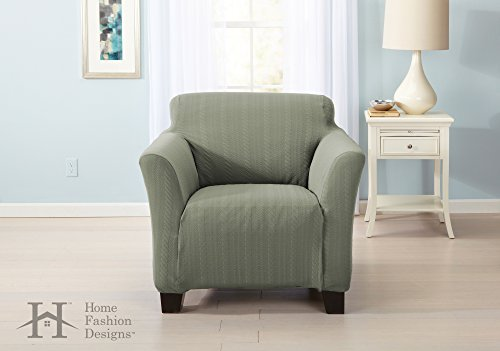 Home Fashion Designs Form Fit, Slip Resistant, Stylish Furniture Shield/Protector with Cable Knit Fabric. Darla Collection Platinum Strapless Slipcover. By Brand. (Chair, Tea Green)