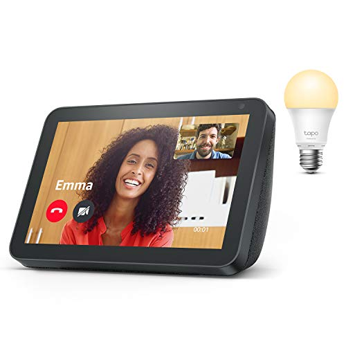 Echo Show 8, Tissu anthracite + TP-Link Tapo Ampoule Connectée (E27), Fonctionne avec Alexa