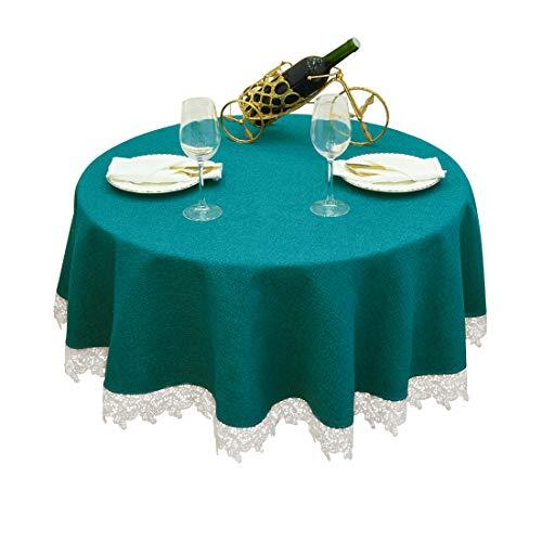 Balcony & Falcon Mantel Redondo para Mesa Mantel Antimanchas Mantel Impermeable para Cocina (Verde Oscuro, Diámetro 140cm)