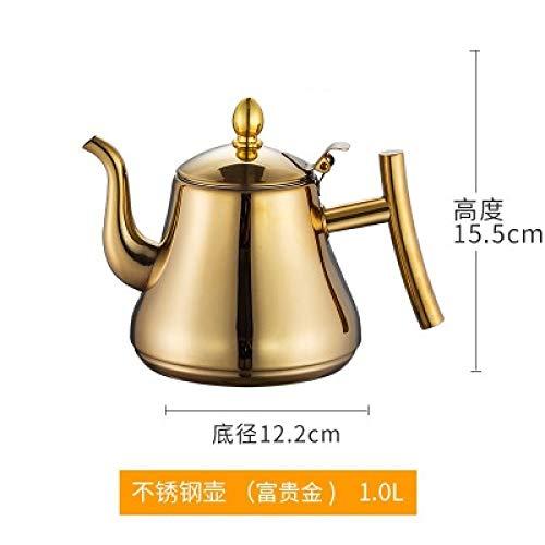 Tetera de moda Moda dorada y plateada Tetera con filtro Tipo Hotel Tetera Tetera de acero inoxidable 304 Tetera de agua Water