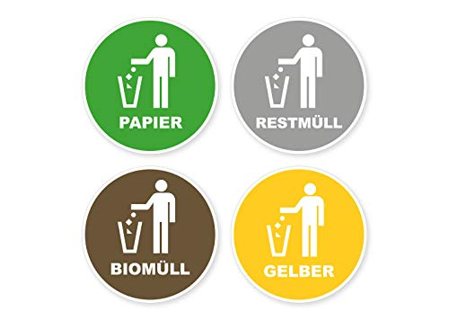 Sticker, recycling afvalscheiding, biologisch oud papier, gele ton, restvuil, waarschuwingsbord sticker, weerbestendig