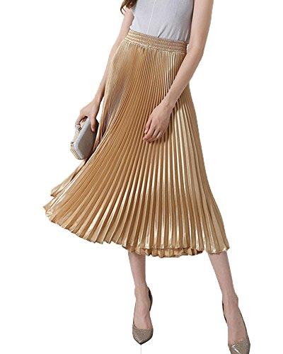 lisastor Mujeres Verano sólido algodón Flare Cintura Alta Faldas Largo Maxi Faldas plisada,  Dorado