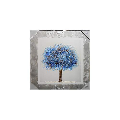 Arcibold Home Diseño árbol de Vida, Decorativo, Moderno - 68x68 cm - Color Azul, Cuadro árbol de la Vida Azul Pintado a Mano, óleos acrílicos y ecológicos.