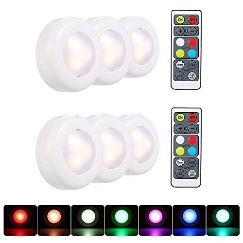 Lixada RGB LED kastlamp, wandlampen met afstandsbediening, dimbaar 16 kleuren automatische verandering, 3 verlichtingsmodi, set van 6 stuks