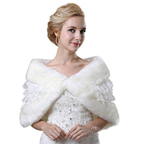 Icegrey Dames Kant Faux Bont Wraps Sjaaltjes Bolero Bruiloft Bruidsjurk Wit