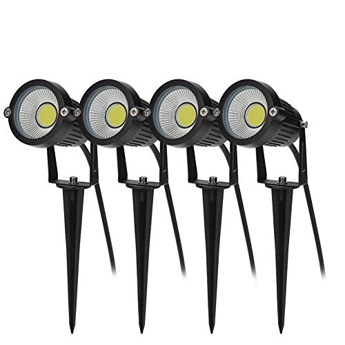 BLOOMWIN 4PCS Foco Proyector Exterior Foco COB LED con Estaca Lámpara Luz Blanco Cálido IP65 220V 5W Impermeable LED Bombilla Exteriores para Jardín Aire Libre Césped Patio Decoración
