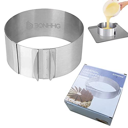 Molde tarta, anillos de pastel de acero inoxidable, diámetro ajustable de 16 a 30 cm, 8.6 cm de alto, perfecto para creaciones de pastel