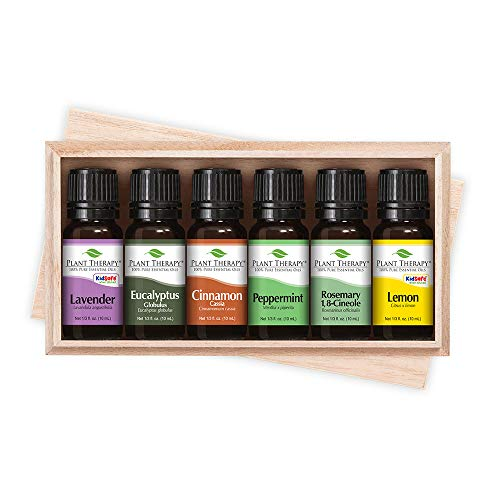 Plant Therapy Essentials Gift Set | Lavender, Peppermint, Eucalyptus, Lemon, Rosemary, Cinnamon, in A Wooden Box | 100% Pure, Undiluted, Natural Aromatherapy, Therapeutic Grade | 10 mL (1/3 oz)