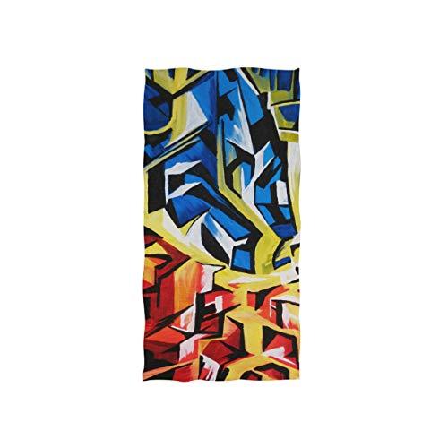 FANTAZIO Serviette de Toilette en Coton de qualité supérieure Motif Abstrait Bleu/Rouge