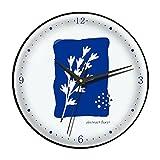 Reloj de Dormitorio sin ticipo de batería Creativa,Reloj de Mudo de Cuarzo for decoración de Oficina en el hogar,Reloj de Pared de Arte Azul de Klein (Color : Black Frame, tamaño : 14in)