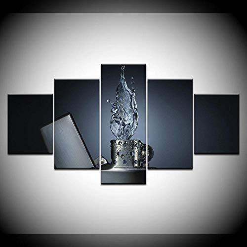 LHXJCBHDWXD 5 Stück Modern Print Leinwand Kunstwerk Feuerzeuge Spritzwasser Licht HD Bilder Home Decor Büro...
