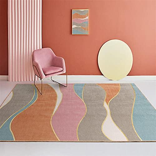 alfombras y moquetas marrón Alfombra de Sala de Estar marrón Rayas abstractas Alfombra de salón Moderna Suave alfombras oficinas 120X160CM Alfombra habitacion Bebe 3ft 11.2''X5ft 3''