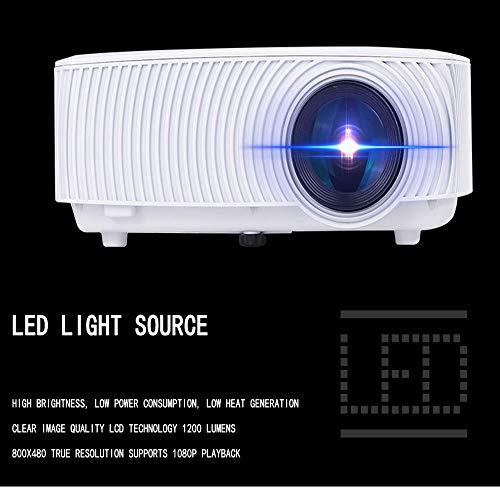 Draagbare projector, draagbare miniprojector, ondersteuning voor 1080P en 138 '' scherm met lampduur van 30.000 uur, compatibel met PS4, pc via HDMI, VGA, TF, AV en USB zwart (zwart),White
