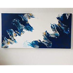 Acryl Pouring Bild I 50 x 100 x 3,5 cm I original handgemaltes Einzelstück I weiß, blau, silber, gold I Keilrahmen I…