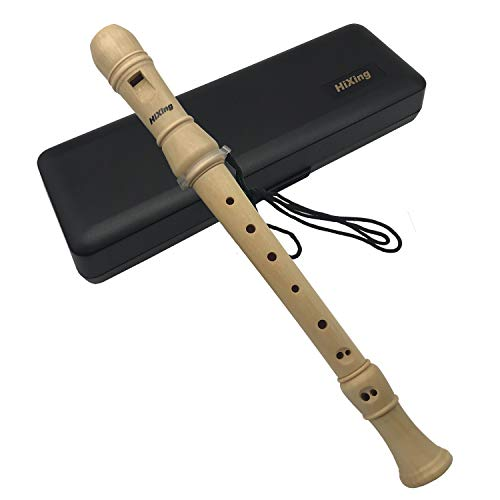 Tin whistle, Recorder Instrument for Kids Adults Beginners Soprano Recorder Baroque Maple Wood C Key 4 Piece Recorder With Hard Case, Hanging rope,Joint Grease,Fingering Chart And Cleaning Kit