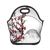 ADONINELP Bolsa de almuerzo con aislamiento para mujeres y hombres, flor de cerezo roja asiática japonesa, bolso de mano resistente al agua con aislamiento térmico, lonchera, enfriador de alimentos,
