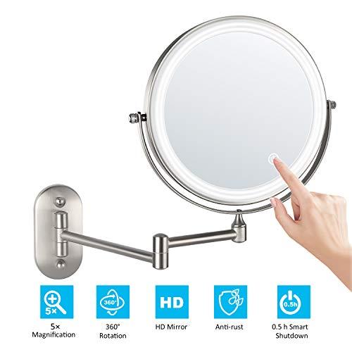 alvorog 8'' Specchio per Trucco con Luce a LED, Specchio Cosmetico Ingranditore, Specchio da Parete per Bagno Bilaterali 5X+360° Girevole e Rotondo, allungabile e Nichel Spazzolato Smerigliato