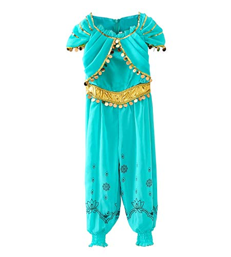 Le SSara Ragazze Principessa Jasmine Vestire Costumi Halloween Arabian Party Fancy Abito (130, D55-Green)