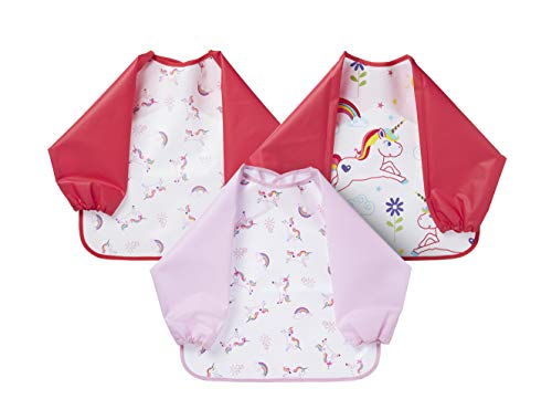 Nuby Coverall Baby Bibs for Toddlers 12 months plus, Long Sleeve Waterproof Weaning Bibs, 3 Pack, Red and Pink