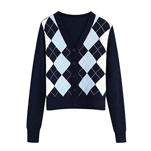 WOOAI 2020 NEU Frauenpullover schwarz weiß blau kariert gestrickt V-Ausschnitt Langarmpullover lässig locker Stil weibliche Frauenkleider, blau, S.