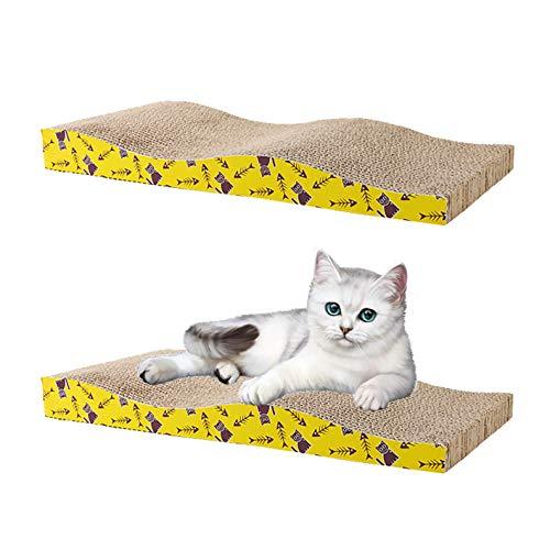 SIKAMARU 2 confezioni di cartoni ondulati per gatti con erba gatta in omaggio, resistente tiragraffi per gatti, in carta ondulata