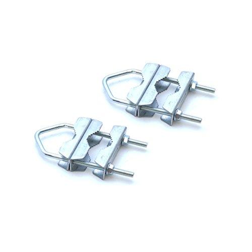 2x PremiumX Mastschelle Sat Mast Rohr Doppel Schelle Halter Verzinkt HQ Mastdoppelschelle bis 60 mm Antenne