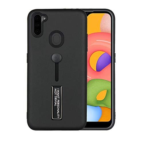 WANTONG Funda de Piel for Samsung Galaxy A11 Fábrica de Aceite a Prueba de Golpes TPU + PC Funda Protectora con Titular (Color : Black)