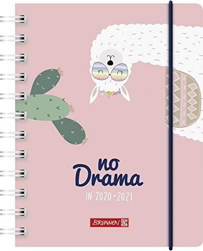 """BRUNNEN 1071750031 """"Lama Drama"""" Tageskalender/Schülerkalender 2020/2021, 1 Seite = 1 Tag, Sa. + So. auf einer Seite, Blattgröße 12 x 16 cm, A6, PP-Einband"""