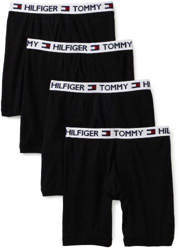 Tommy Hilfiger Men's 4 Pack Boxer Brief, Black, Medium