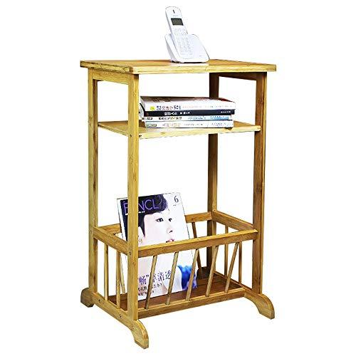 XIA Table téléphonique en bambou porte-revues étagère salon 36 * 41 * 79cm
