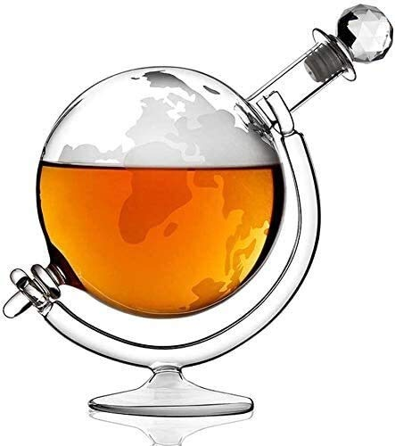 CAONIDAYE Decantador Decantadores de Whisky Globo, Transparente soplado a Mano de Cristal sin Plomo de Vidrio, for el Licor, Whisky, Bourbon, Vodka, 1000ml