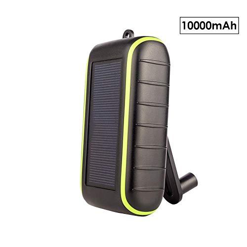 feiledi Trade 10.000 mAh Solar-Ladegerät Powerbank Tragbares Handy-Ladegerät Externer Akku Ladegerät, LED-Taschenlampe, Dual-USB-Ausgang, wasserdicht, perfekt für Camping, Reisen, Outdoor-Aktivitäten