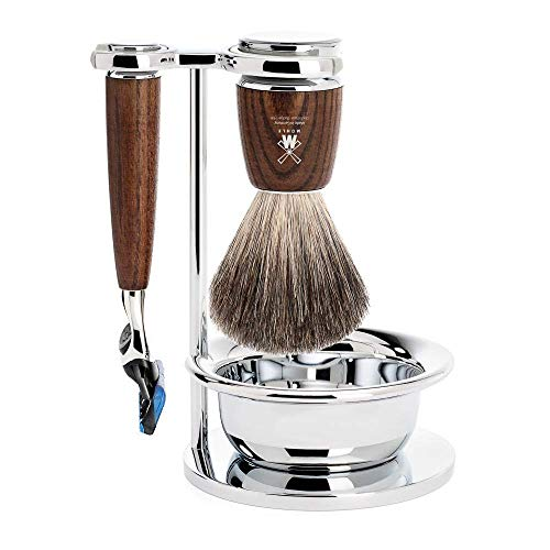 MÜHLE RYTMO Steamed Ash 4-Piece Pure Badger 5-Blade Razor Modern Luxury Wet Shaving Set - Perfect for Every Day Use, Barbershop Quality Close Smooth Shave