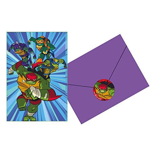 Amscan 9904565 - Einladungskarten Ninja Turtles, 8 Stück, Größe 10,7 x 15,8 cm, Karten, Umschläge, Sticker, Schildkröten, Helden, Party, Kindergeburtstag, Kinderparty, Mottoparty, Einladung