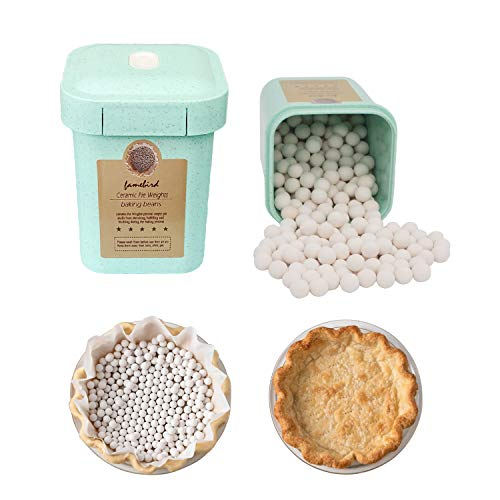 Ceramic Pie Weights Reusable Baking Beans Natural Food Grade Crust Beads Ceramic Stoneware with Wheat Straw Container