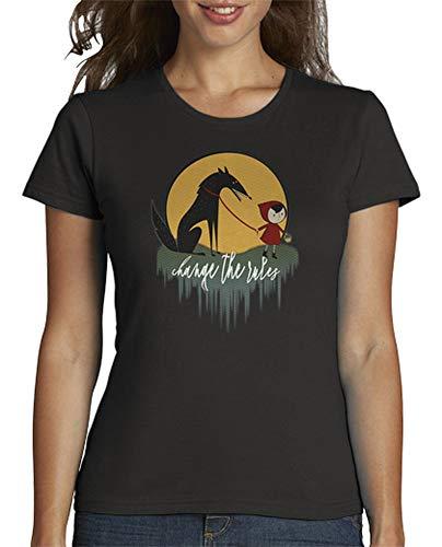 latostadora - Camiseta Caperucita Roja para Mujer Gris Oscuro M