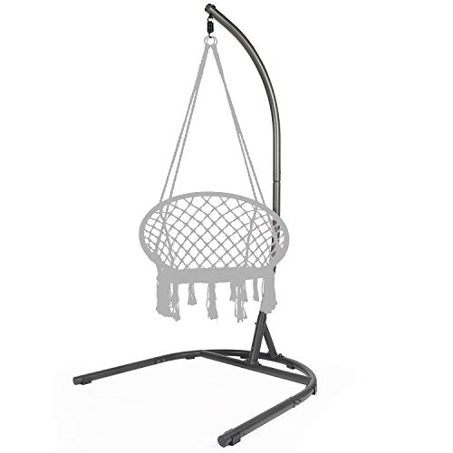 C-Type Hammock Chair Stand, Hammock Stand Heavy Duty Steel Solid, Adjustable Height, Hammock Rack Stand for Hanging Chairs, Tree tent, Loungers, Swings, Indoor/Outdoor Patio, Yard, 250lbs Capacity