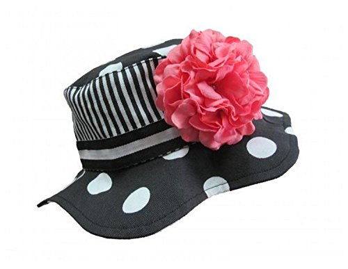 Black White Dot Sun Hat with Candy Pink Large Geraniums, Size: 4-6y