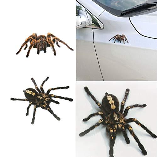 BLOUR 1 Uds / 2 Uds Pegatina de araña 3D Divertida Cabeza de Coche Cola Personalidad araña Pegatinas calcomanía decoración DIY decoración