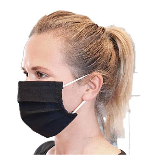 LIEVD Behelfsmaske Schwarz M wiederverwendbar I waschbare Gesichtsmaske aus Baumwolle I 2-lagige Stoff Mund Nasen Maske in Zwei Größen