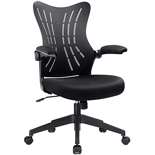 Furmax Office Desk Flip Up Arms Mesh Mid Back Computer Swivel Task Chair with Ergonomic Lumbar Support, Black