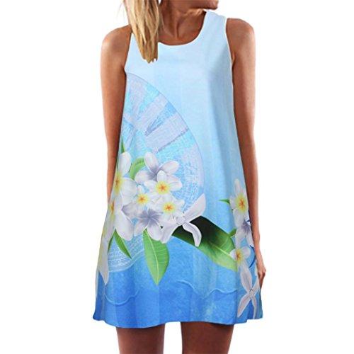 Minikleid,SANFASHION Vintage Boho Frauen Sommer Sleeveless Strand Printed Short Mini Dress
