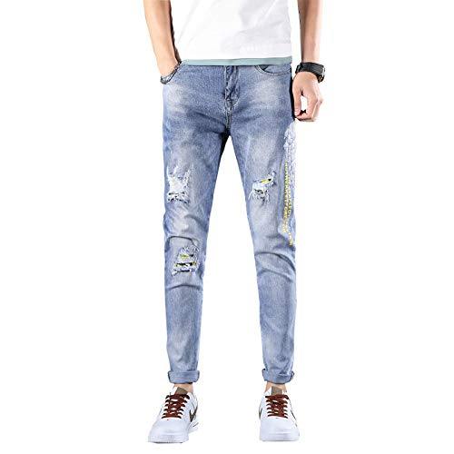 Pantalones Vaqueros para Hombre Moda Casual Pantalones Vaqueros Rasgados Bordados Primavera y Verano Marca de Moda Personalidad Vaqueros Ajustados 38