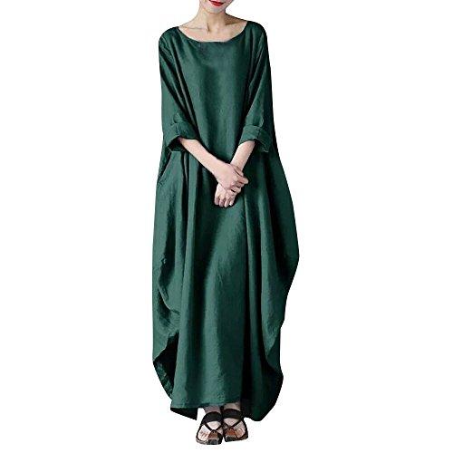 VEMOW Heißer Beiläufiges Loses Kleid Elegante Damen Rundhalsausschnitt Solide Baumwolle Baggy...