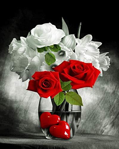 DIY 5D Diamante Pintura Kits Rosa Blanca Roja Grande Taladro Completo Diamond Painting Bordado cuadros Rhinestone Punto de Cruz Diamante arte Craft de decoración del hogar Square (50x70cm,20x28in)