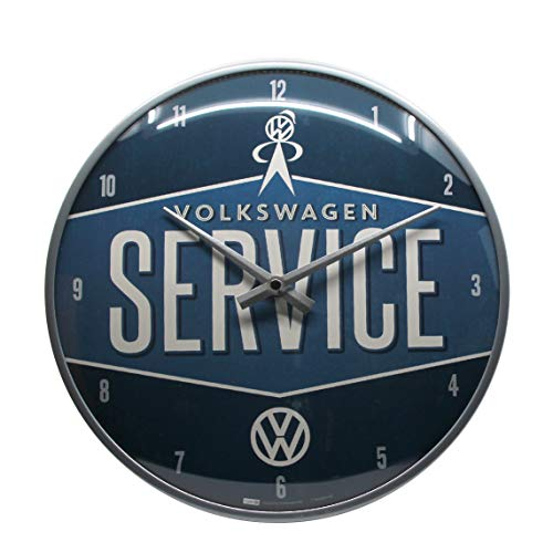 Nostalgic-Art 51079, VW Wanduhr 31cm, Metall, Volkswagen Service, 31 x 31 x 5,5 cm